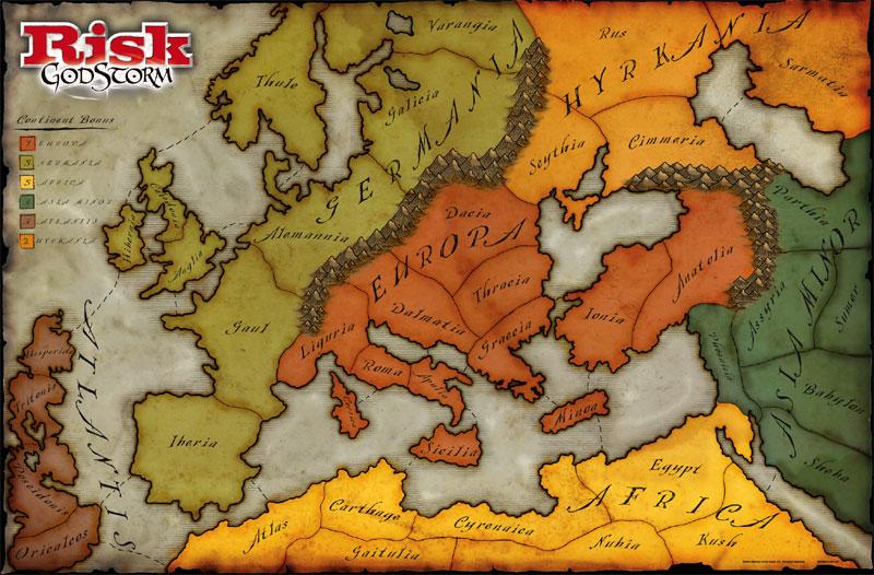 Risk GodStorm Gameboard Map